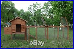 120'' Chicken Coop Hutch With Run Outdoor Hen House Poultry Pet Wooden Nest Box