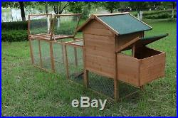 120'' Chicken Hutch With Run Outdoor Hen House Poultry Pet Wooden Coop Nest Box