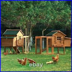 123.6 Large Outdoor Wooden Chicken Coop Poultry Cage Rabbit Hutch for 6 Chicken