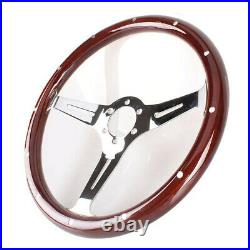 15in Wooden Grain Silver Slotted Spoke Steering Wheel withHorn Kit Car Accessories