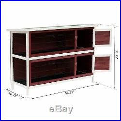 2-Tier Elevated Rabbit Hutch Bunny Cage Wooden Small Animal Habitat with Tray