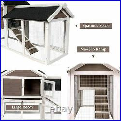 2-Tier Wooden Bunny Hutch Rabbit Cage with Removable Tray Ramp Shelter