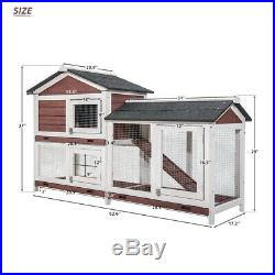 2 Tier Wooden Rabbit Hen Hutch Bunny Hen Poultry Cage Pet House With Run Ladder