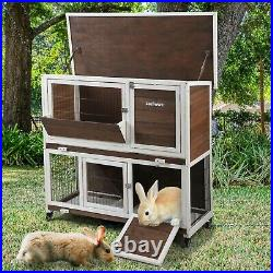 2-Tier Wooden Rabbit Hutch Animal Pet Cage Bunny House with Run Flip-up Roof New