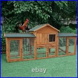 2 Tiers Wooden Rabbit Hutch Animal Pet Cage with 2 Runs Chicken Coop Hen House