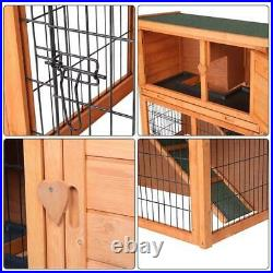 2 Tiers Wooden Rabbit Hutch Chicken Coop 36 Wood Hen House Poultry Pet Cage
