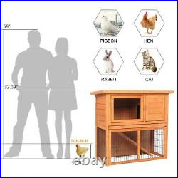 2 Tire Wooden Rabbit Hutch Hen Chicken Coop Small Animal House Pet Hutches Cage
