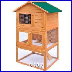 3 Layers Wooden Outdoor Rabbit Hutch Small Animal House Chicken Poultry Cage