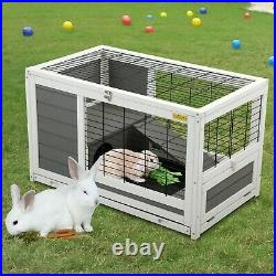 35'' Wooden Bunny Hutch Tortoise Small Animal House Hamster Cage with Enclosure