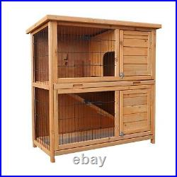 36 Rabbit Hutch Outdoor Wooden Pet Bunny House Cage with 3 Doors& Tray&Tunnel