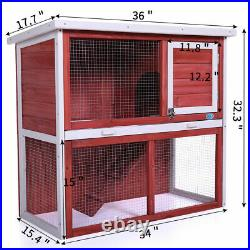 36 Wood Rabbit Hutch Chicken Coop 2-Tier Wooden Hen House with Removable Tray