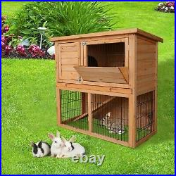 36 Wooden Rabbit Hutch Bunny Cage Animal House with Backyard Run Ramp 2 Tiers NEW