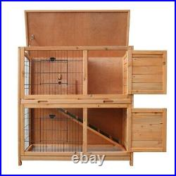36 inch 2 Tiers Rabbit Hutch Wooden Pet Cage With Run Vintage Bunny House USA