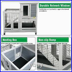 37 Wooden Wheeled Rabbit Hutch Small Pet Animal Hamster House Bunny Coop Cage