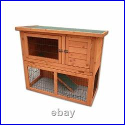 3ft Outdoor Wooden Rabbit Hutch With Run And Cover 2 Two Tier Pet Ferret Garden