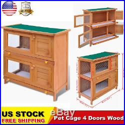 4 Doors Wooden Rabbit Hutch Bunny Cage For Small Animal House Poultry Cage Cozy