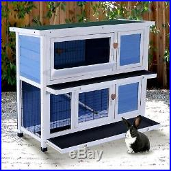 40 Wooden Bunny Chicken Guinea Pig Pet Cage Small Run Ramp Ladder 2 Storeys