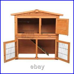 40'' Wooden Rabbit Hutch A-Frame Pet Cage Wood Small House Chicken Coop US
