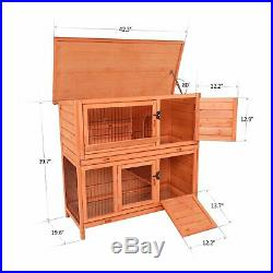 40 Wooden Rabbit Hutch with Waterproof Roof For Indoor Outdoor Use