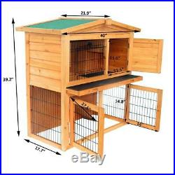 40A-Frame Wood Wooden Rabbit Hutch Small Animal House Pet Cage Chicken Coop