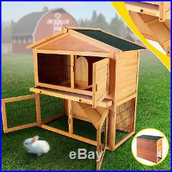 40in Wooden Poultry Cage 1-2 Rabbit Hutch Cage Coop House Guinea Pig Run
