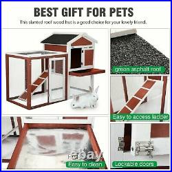 47 Lockable Rabbit Hutch 2 Tiers Wooden Chicken Coop with Ramp for Small Pet