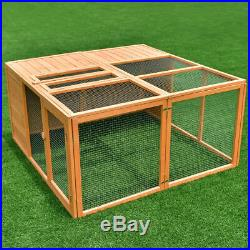 47 Wooden Rabbit Hutch Chicken Coop Bunny Small Animals Cage House with 2 Doors