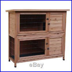 48 2 Tiers Wooden Pet Hutch Chicken Coop House Rabbit Cage Small Animal Park
