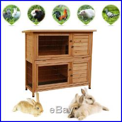 48 2 Tiers Wooden Rabbit Hutch Bunny Guinea Pig Cage Outdoor Small Animal House