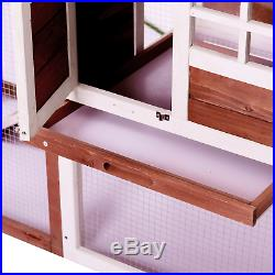 48 Large Wooden House Rabbit Hutch Hen Chicken Coop Cage Small Pet Animals Nest