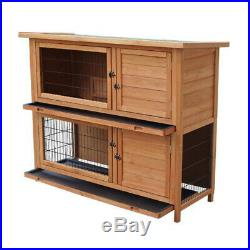 48 Square Wooden Rabbit Hutch Small Animal House Pet Cage Chicken Coop 2Trays