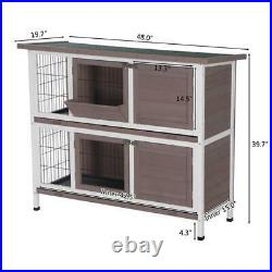 48 Wood Wooden Rabbit Hutch Small Animal House Pet Cage Chicken Coop Waterproof