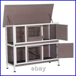 48 Wooden Rabbit Hutch Chicken Coop Hen Small Animals House Poultry Pet Cage
