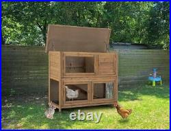 48 Wooden Small Animal House House Rabbit Hutch Cage Chicken Coop Outdoor U