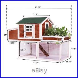 49'' Frame Wood Wooden Rabbit Hutch Small Animal House Pet Cage Chicken Coop