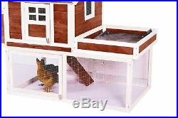 49 INCH 2 Layers Rabbit Hutch Small Animal House Chicken Coop Wooden Roof Plant
