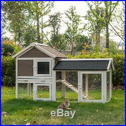 52.8 Wooden Chicken Coop Rabbit Hutch Hen Animal House Pets Cage with Tray