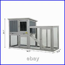 54.7 Outdoor Wooden Rabbit Hutch Pet Bunny House Cage with 3 Doors& Tray&Tunnel