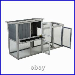 54.7 Rabbit Hutch Outdoor Wooden Pet Bunny House Cage with 3 Doors& Tray&Tunnel
