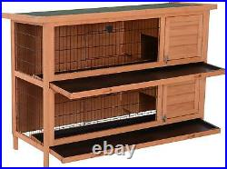 54 Raised Compact Dual Outdoor Wooden Rabbit Hutch Small Animal Cage With Trays