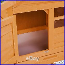 56 Wooden Rabbit Hutch Bunny House Small Animal Pet Cage withBackyard Run Ramp