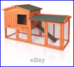 56 Wooden Rabbit Hutch Cage withRun Waterproof Roof Backyard ONLY THIS WEEK