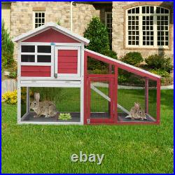 57 2-Tiers Rabbit Hutch Waterproof Small Animal Cage Wooden Chicken Coop WithRun