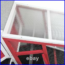 57 Two-Storey Wooden Rabbit Hutch Chicken Coop with with Slant Sunlight Panel