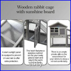 57 Wooden Rabbit Hutch Animal Pet Cage with Run Chicken Coop Hen House 2 Tiers