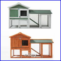 58'' Amimal Hutch with Run Backyard Hen Wooden Rabbit House Chicken Coop Cage