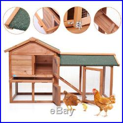 58 Large Wooden Chicken Coop Rabbit Hutch Bunny Hen Animal Cage House withRun