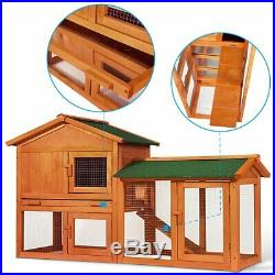 58 Large Wooden Rabbit Hutch Chicken Coop Bunny Animal Hen Cage House Wooden US