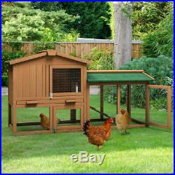 58'' Large Wooden Rabbit Hutch Chicken Coop Bunny Animal Hen Cage House withRun
