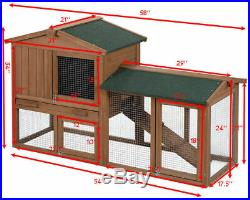 58 Large Wooden Rabbit Hutch Chicken Coop Bunny Animal Hen Cage House withRun